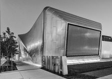 Black and White Exterior of Berkeley Art Museum and Pacific Film. BERKELEY, CA - JUNE 18, 2016: Located in downtown Berkeley, BAMPFA art exhibits range from Royalty Free Stock Image