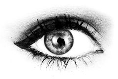 Black and white eye. A black and white macro shot of a woman's eye looking at the camera royalty free stock image