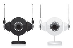 Black and white eye camera and headphones Royalty Free Stock Image
