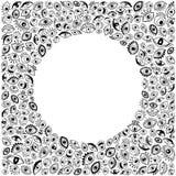 Black and white eyes round frame background Stock Photos