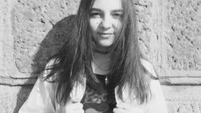 Black&White för tonårs- flicka stående Royaltyfri Foto