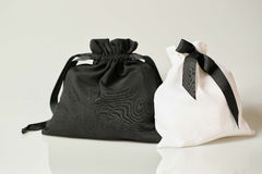 Black and white fabric bag Royalty Free Stock Image