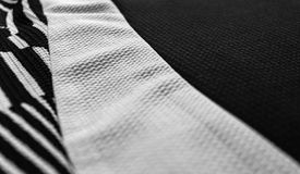Black and white fabric textures. Three different fabric textures in black and white Stock Image
