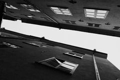 Black and white facades and roofs of the old city houses royalty free stock image