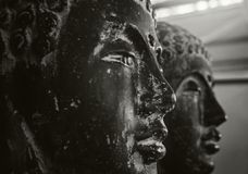 The black and white face of a Buddha Stock Photos