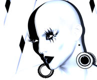 Black and white face close up with fashion makeup, long eyelashes, body paint. And black and white background.This 3d render illustration is great for themes of Stock Images