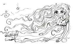 Black and white fairy. An illustration of a girl fairy in black and white Stock Photo