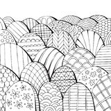 Black and white fairy landscape. Coloring book with different hills.  royalty free illustration