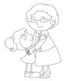 Black and white family scene. Black and white drawing about a tender hug between the old grandmother and the young little girl Stock Images