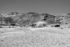 Black and white fantasies of the desert. Rocky hills of the Negev Desert in Israel. Breathtaking landscape of the rock formations in the Southern Israel. Dusty stock photos