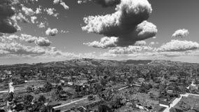 Black And White Fantasy Village Landscape Stock Photos