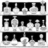 Black and white fantasy vintage perfumes. Stock Image