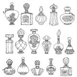 Black and white fantasy vintage perfumes. Royalty Free Stock Photography