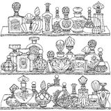 Black and white fantasy vintage perfumes. Royalty Free Stock Photos