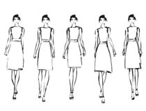Black and white fashion models in sketch style. Hand drawn vector illustration. Pose stock images