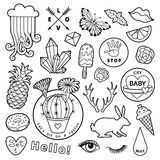 Black and white fashion patch badge elements in cartoon 80s-90s comic style. Set modern trend doodle sketch. royalty free illustration