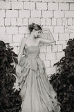 Black and white fashion photography of beautiful girl in dress. Royalty Free Stock Photography