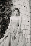 Black and white fashion photography of beautiful girl in dress. Stock Image