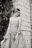 Black and white fashion photography of beautiful girl in dress. Stock Photography
