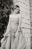 Black and white fashion photography of beautiful girl in dress. Royalty Free Stock Image
