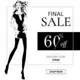 Black and white fashion sale banner with woman fashion silhouette, online shopping social media ads web template with beautiful gi Stock Photography
