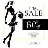 Black and white fashion sale banner with woman fashion silhouette, online shopping social media ads web template with beautiful gi Royalty Free Stock Images