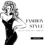 Black and white fashion sale banner with woman fashion silhouette, online shopping social media ads web template with beautiful gi. Rl. Vector illustration art Stock Images