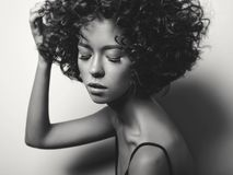 Beautiful woman with afro curls hairstyle. Black and white fashion studio portrait of beautiful woman in black dress with afro curls hairstyle. Fashion and Stock Images
