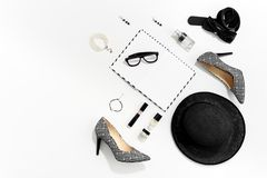 Black and white fashion stylish women clothes and accessories. Top view royalty free stock photo