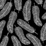 Black-and-white Feather seamless background Royalty Free Stock Photos