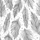 Black and white feathers pattern. Black and white feathers seamless pattern set isolated, doodle art, boho style, vector background royalty free illustration