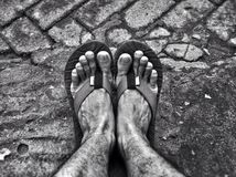 Black and white feet Royalty Free Stock Photo