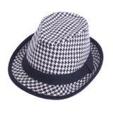Black and white felt hat isolated on white Royalty Free Stock Photography