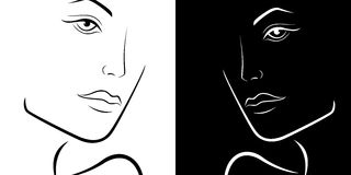 Black and White female laconic heads outline Royalty Free Stock Photos