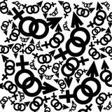 Black and white feminine and masculine signs Royalty Free Stock Photo