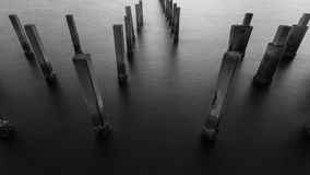 Black and White of Fence protect sandbank Royalty Free Stock Images