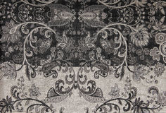 Black and White Filigree tapestry Pattern Print Royalty Free Stock Images