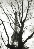 Black and white film photography. Creative abstract view of Eiffel tower Stock Images