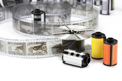 Black and white film and reel Stock Image