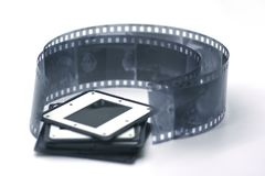 Black and white film with slides royalty free stock image
