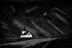 Traditional wooden church in Vik, Iceland