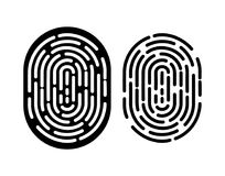 Black and white fingerprint. Royalty Free Stock Photos