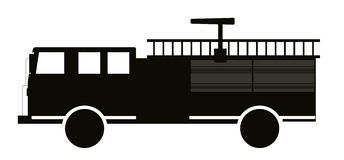 Black and White Fire Truck Flat Design. Vector Illustration. Royalty Free Stock Image