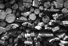 Black and white firewood texture Royalty Free Stock Photography