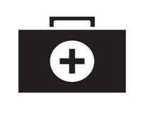 Black and White first aid kit icon vector isolated white background. Medical icons Royalty Free Stock Images