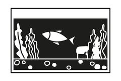 Black and white fish aquarium silhouette. Decorative element for home office. Pet themed vector illustration for icon, sticker, label, badge, poster Royalty Free Stock Photography