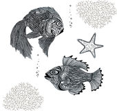 Black and white fish. Graphic black and white fish seaweed Royalty Free Stock Image