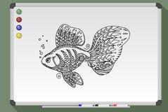 Golden fish illustration. Black and white fish on white board. Cartoon icon. Hand drawn  stock illustration Stock Photography