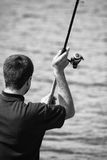 Black and white fisherman Royalty Free Stock Images