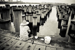 Black and White Fishing Royalty Free Stock Images